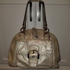 Coach Gold Leather Satchel Hangbag